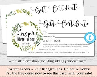 gift certificate add your logo printable gift cert diy gift etsy