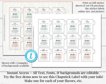 image regarding Free Printable Lip Balm Label Template named Lip balm labels Etsy