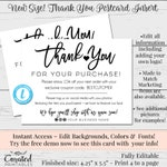 Instant Thank You Cards, Editable Postcards, Package Inserts, Order Inserts, Thank You Card, Instant Download Postcard, Editable Template