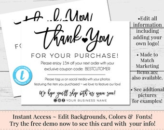 Business thank you etsy instant thank you cards editable postcards package inserts order inserts thank you card instant download postcard editable template flashek Choice Image