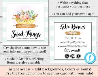 Cake business card etsy baking business card editable business card square business card template diy business card bakery logo watercolor card cake logo cheaphphosting Choice Image