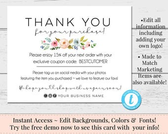thank you postcards editable postcards package inserts order inserts custom thank you card instant download postcard flowers templett