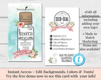 Business card template etsy essential oils business card oily rep card business card template diy business card instant download card diy editable business card wajeb Choice Image