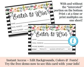 Enter To Win Raffle Card Prize Entry Ticket Home Party Etsy