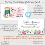 Sewing Business Card, Seamstress Business Card, Business Card Template, DIY Business Card, Instant Download Card, Editable Business Card