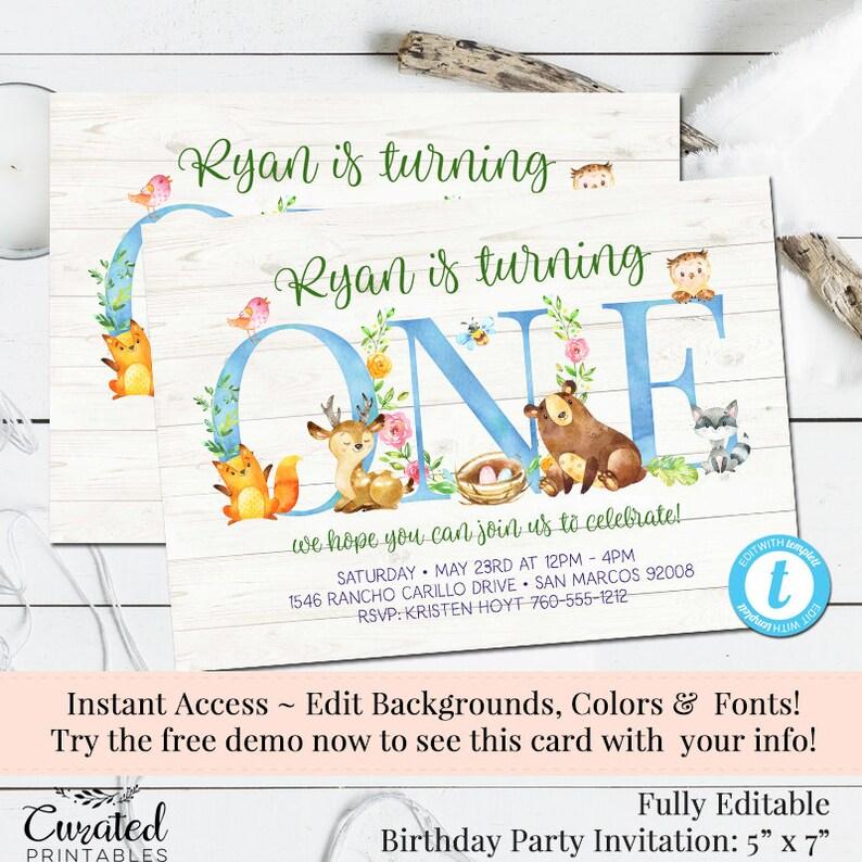 Woodland Friends Invitation First Birthday Boys