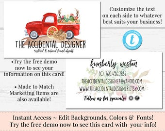 Vintage Truck Business Card, Business Card, Watercolor Card Template, DIY Business Card, Instant Download Card, DIY Truck Business Card