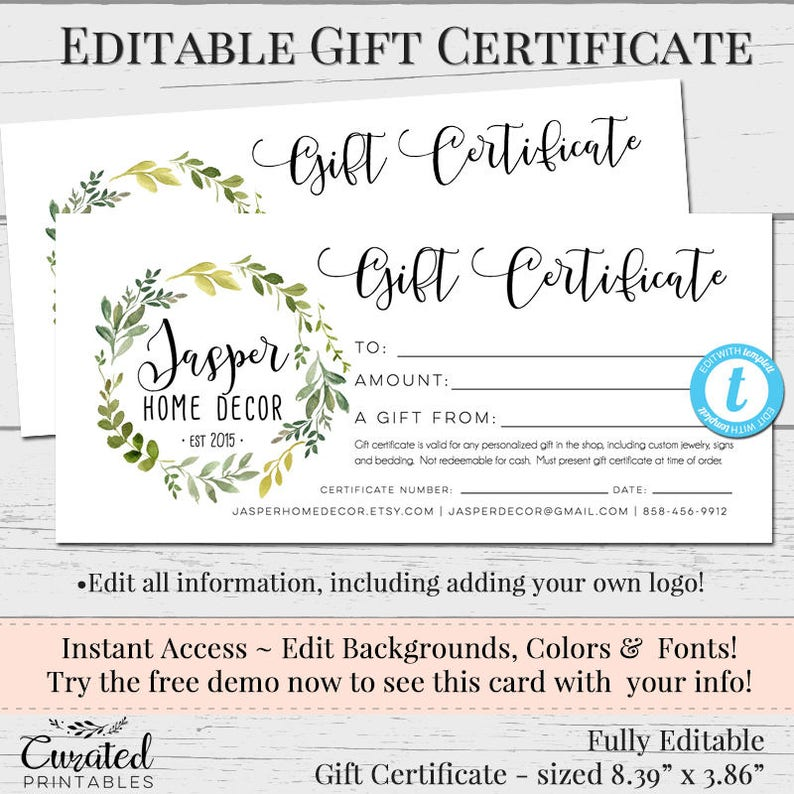 Editable Gift Certificate Template Free
