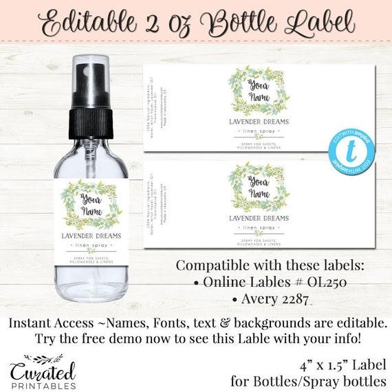 Spray Bottle Label Editable DIY