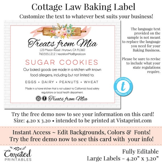 Cottage Kitchen Law Texas: Cottage Law Label Bakers Label Cookie Product Label DIY