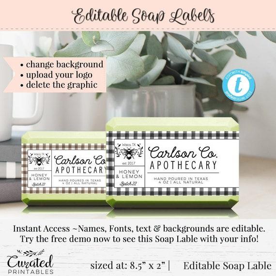 Soap Label, Editable Label, Bath Product Label, DIY Ingredient Label,  Instant Print Sticker, Editable Sticker, Label Template, 8 5