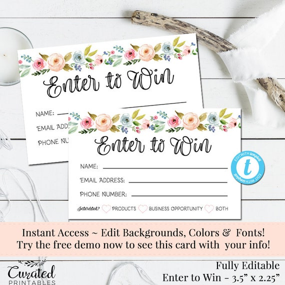 Enter To Win Raffle Card Prize Entry Ticket Home Party Template Business Marketing Editable Forms Diy Entry Form Instant Download