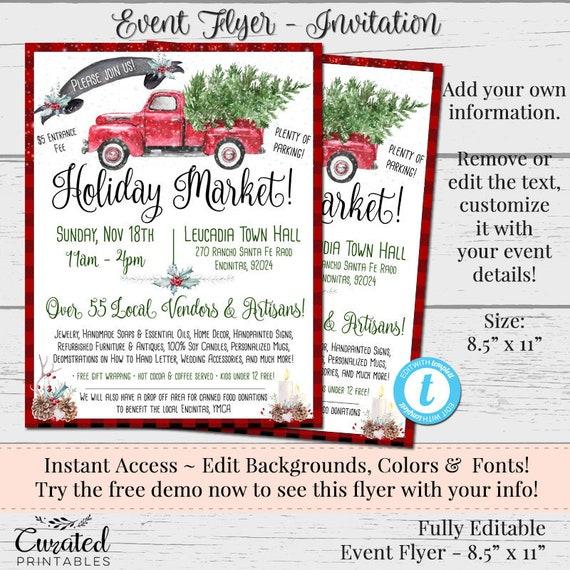 Holiday Event Flyer Custom Flyer Vendor Flyerholiday Market Etsy