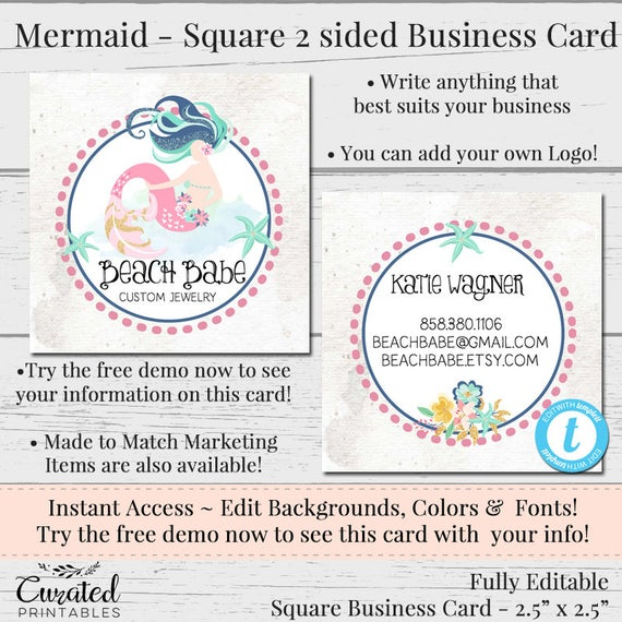 Mermaid Business Card Editable Business Card Square Business Etsy