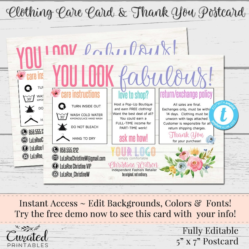 Clothing Care Cards, Editable Postcards, Package Inserts, Order Inserts,  Thank You Card, Instant Download Postcard, Flowers, DIY Care Card