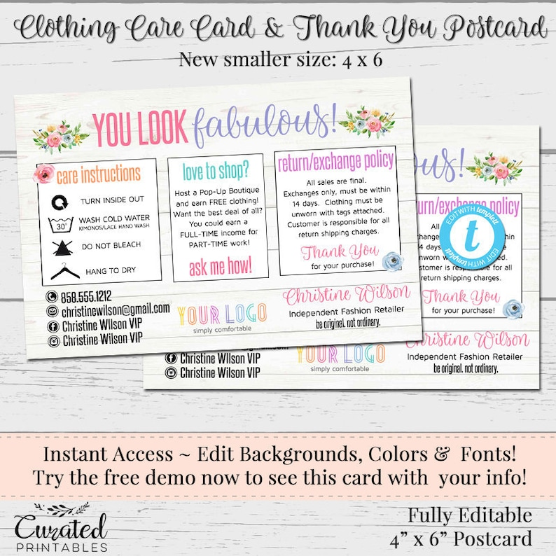 Clothing Care Cards, Editable Postcards, Package Inserts, Thank You Card,  Instant Download Postcard, Flowers, DIY Care Card, 4 x 6