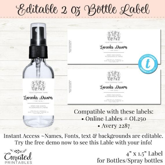 spray bottle label editable spray bottle label diy spray etsy