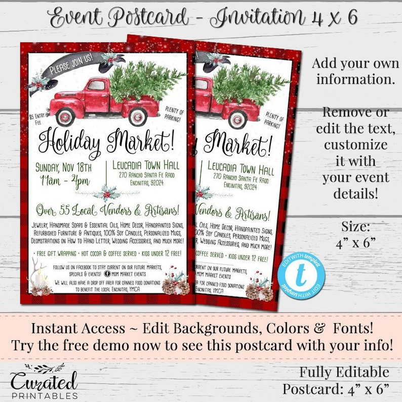 Holiday Event Invitation Template Printable DIY Instant Download Postcard Editable 4 X 6