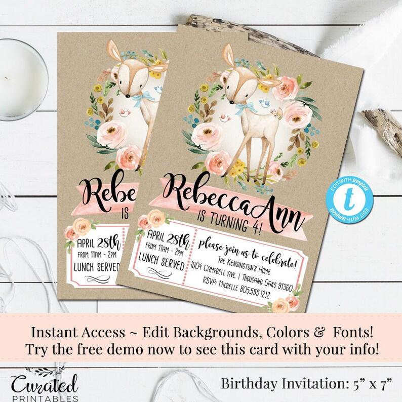 Deer Invitation, Woodland Friends Birthday Invitation, Girls Birthday  Invitation, DIY Invitation, Printable DIY, Instant Download, Editable
