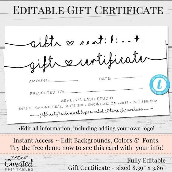 Gift Certificate Voucher Printable Gift Cert Editable Gift Etsy