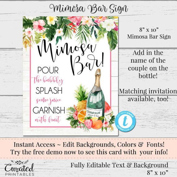 picture regarding Free Printable Mimosa Bar Sign named Mimosa Bar Indicator, Editable Bar indicator, Tropical Get together, Luau Invitation, Printable Bash, Do it yourself Mimosa Signal, Summer season BBQ Invite, Bridal Shower Do-it-yourself