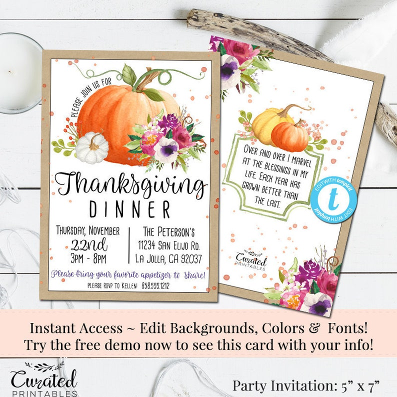 Thanksgiving Invitation Turkey Day Template Printable DIY Instant Download Friendsgiving Pumpkin Dinner Invite