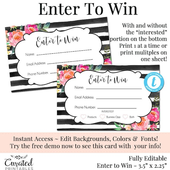 Enter To Win Raffle Card Prize Entry Ticket Home Party Template Business Marketing Editable Forms Diy Entry Form Oh Carolina 2