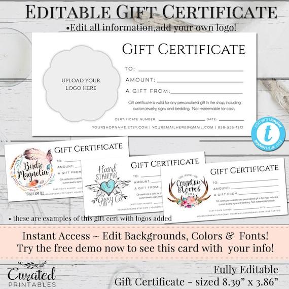 gift certificate add your logo printable gift cert diy gift etsy