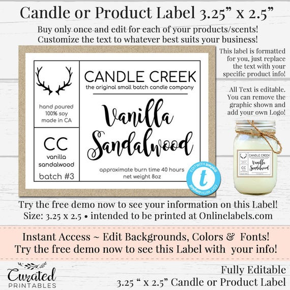 Small Candle Label, Editable Label, Bath Product Label, DIY Ingredient  Label, Instant Print Sticker, Editable Sticker, 3 25 x 2 5, Templett