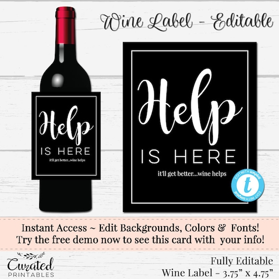 Editable Wine Label Funny Wine Label Custom Wine Label Diy Etsy