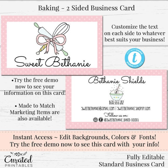 Baking business card watercolor card cookie card template reheart Images
