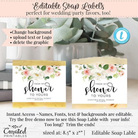 DIY Wedding Soap Label, Editable Soap Label, Bath Product Label, DIY Soap  Label, Instant Download, Soap Wedding Favor, 8 5