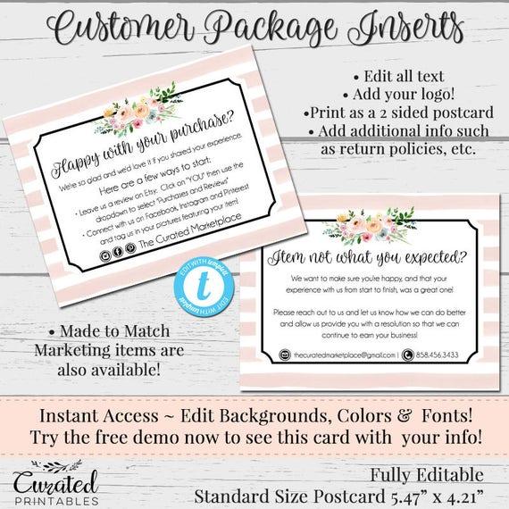 Kunden Feedback-Karte danke Einsatz Packungsbeilage   Etsy