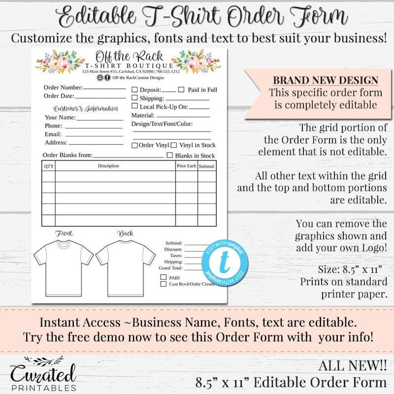 T-Shirt Order Form, Customizable Order Form, Editable Order Form, Order  Form Template, DIY Order Form, DIY Form, Spring Flowers, 8 5 x 11