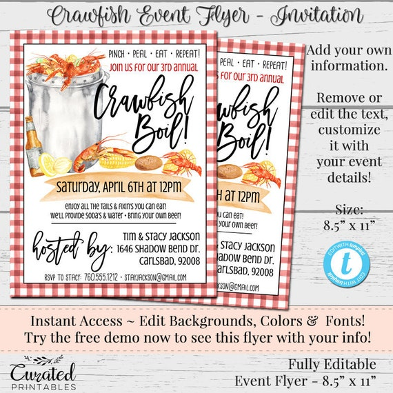 It is a photo of Crawfish Boil Invitations Free Printable pertaining to clambake