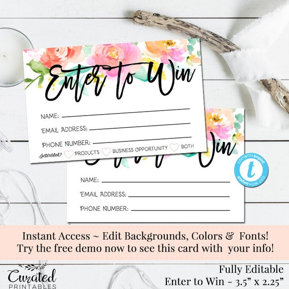 Enter To Win Raffle Card Prize Entry Ticket Home Party Template Business Marketing Editable Forms Diy Entry Form Instant Download Form