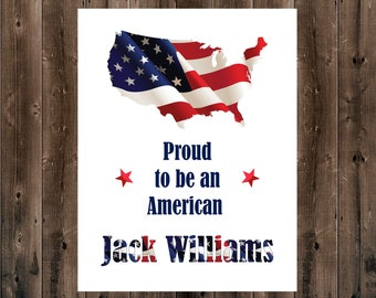 Fourth of July Decor, Personalized Proud American Print, July 4th Printable, 4th of July Printable, Patriotic Printable, Independence Day
