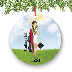 Personalized Graduation Christmas Ornament Class of 2020 2021 Custom Gift for Graduate Masters Bachelor Doctorate College High School Degree