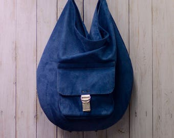 Hobo bag, women handbag, blue, boho bag, leather, artificial suede