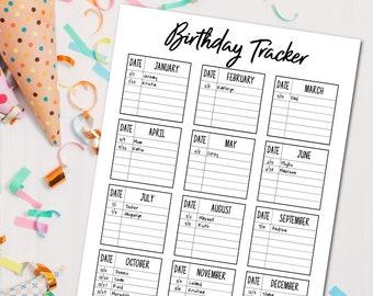 Printable Birthday Tracker, Birthday Planner, Birthday List, Birthday Log, Birthday Calendar, Birthday Reminder, Birthday Log,  Printables