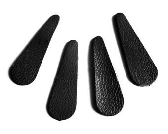 Set of 10 forms petals 1 x 3.2 cm leather sequins style petals or drops black leather
