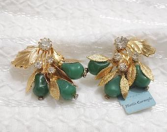 Vintage Hattie Carnegie Earrings - Gorgeous Signed Rhinestone Gold Tone Leaf Floral Clip On w/ Original Sales Tag - Vintage Costume Jewelry