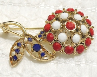 Patriotic Red, White, Blue Glass Flower Brooch - Floral Pin - Gold Tone Setting - July 4th, Election Day, Etc. - Vintage Costume Jewelry