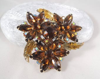 Beau Jewels Stacked Brooch - Golden Topaz Layered Trefoil Rhinestone Pin - Molded Leaves - Unsigned Vintage Costume Jewelry