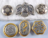 Silver, Pewter Gold Button Covers - Native American Southwestern Thunderbird Fish Shell - Mixed Lot Buttons - Vintage Sewing Accessory