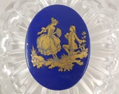 Vintage Cameo Courting Couple - Gold on Blue Glass Cabochon - Courting Couple - 18th Century Scene - 40 x 30mm - Vintage Craft Accessory