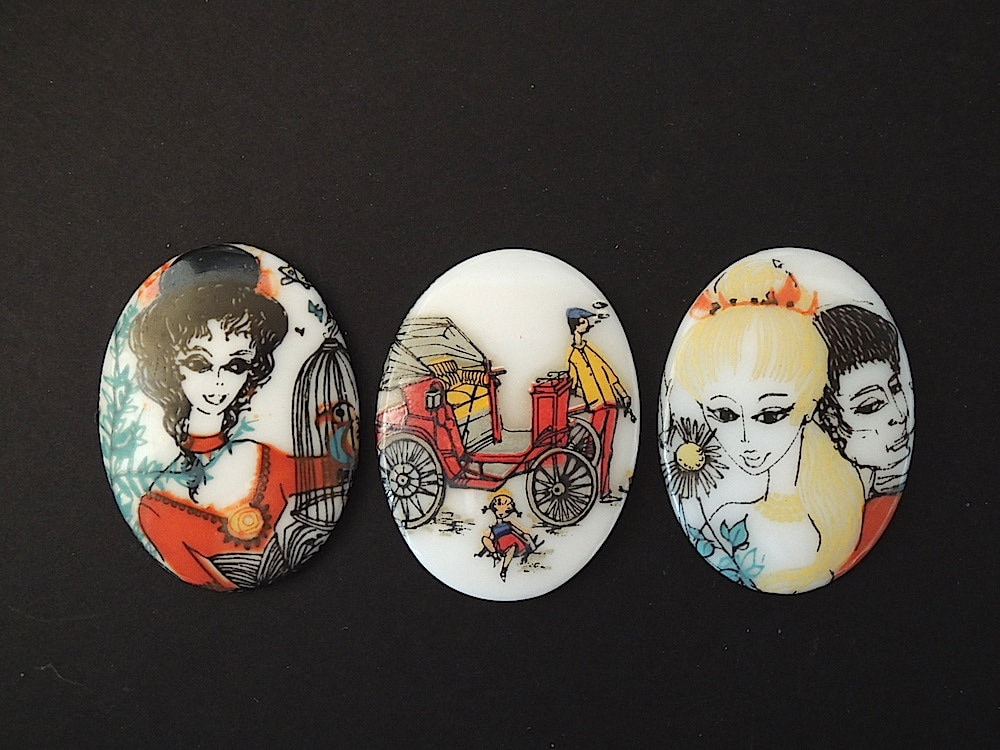 Vintage Cabochon Scene From Early 1900s Paris French Etsy