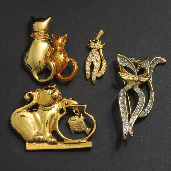 4 Enamel Cat Charms Gold Pendants Assorted Lot Kitty Findings Jewelry Supplies