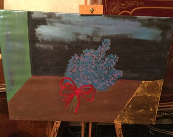 Naif flower on canvas and acrylic