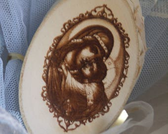 Wooden Laser-engraved Icon on a Tree Stump